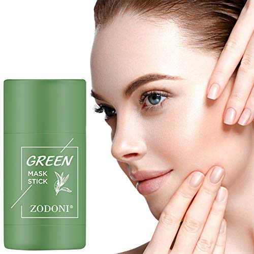 Doingshop Grüner Tee Auberginen Anti-Akne-Maske Fine Solid Mask Purifying Clay Stick Mask Ölkontrolle Gesichtsmaske Blackhead Remover Deep Mitesserentferner Gesichtsmaske Poren Schrumpfen (Grün*1)