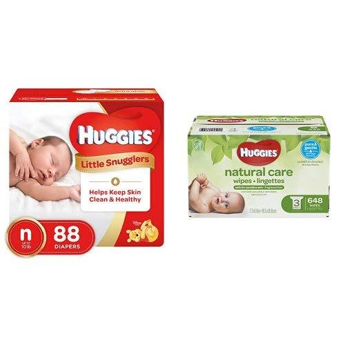 Huggies Little Snugglers Diapers Newborn Giga Jr. 88 count PLUS Huggies Natural Care Unscented Baby Wipes, Sensitive, Water-Based, 3 Refill Packs, 648 Count Total