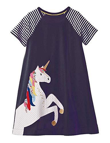 Girls Dresses Summer Casual Toddler Cotton Short Sleeves Stripe Flower Unicorn Dress for Kids Aged 1-2 Years
