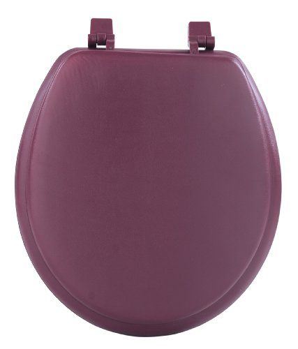Soft Padded Toilet Seat - Achim Home Furnishings TOVYSTBU04 17-Inch Fantasia Standard Toilet Seat, Soft Burgundy