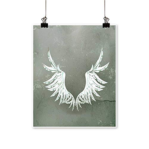 Modern Painting Fashion Coat of Arms Wings in Front of Cracked Dirty Wall Royal Insignia Artwork for Home Decorations,32