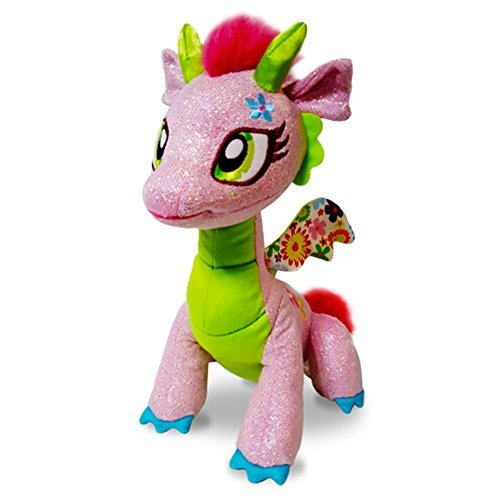 GlitterShine Dragons Plush Stuffed Toy Pink Sparkling Dragon - 12 Inches - Glimmer Flora