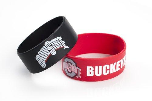 NCAA Ohio State Buckeyes Silicone Rubber Bracelet Set, 2-Pack-Old Logo