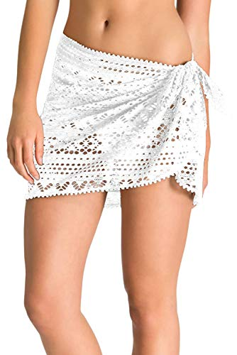 Urchics Womens Lace Hollow Out Swimsuit Tankini Bottom Swim Board Shorts White One Size