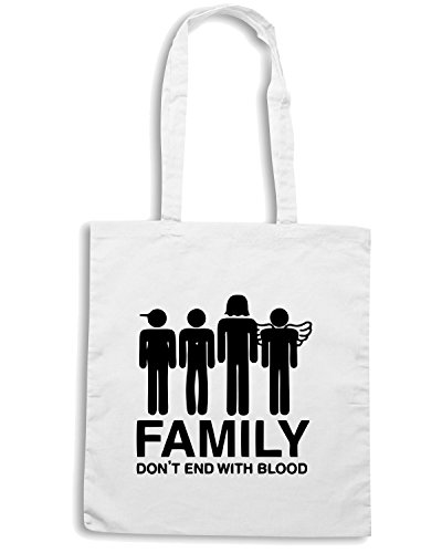T-Shirtshock - Bolsa para la compra OLDENG00258 supernatural family dont end with blood s Blanco
