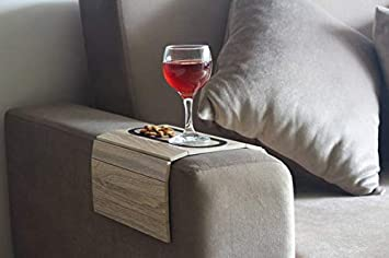Premium Wooden Sofa Arm Tray with Non-Slip Rubber Surface for Coffee, Wine Beer, Snacks and Remote Premium Wooden Couch Arm Table is Foldable and Portable