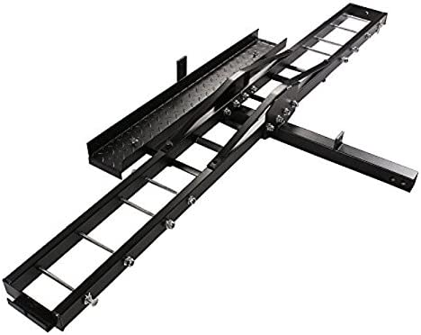 TMS Heavy Duty Motorcycle Carrier Hitch Rack Hauler with Loading Ramp