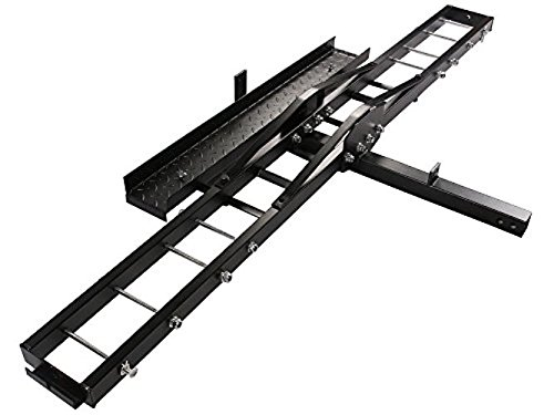 TMS T-NS-MRC001 500-Pound Heavy Duty Motorcycle Dirt Bike Scooter Carrier Hitch Rack Hauler Trailer with Loading Ramp and Anti-Tilt Locking Device (Best Motorcycle Trailer Hitch)