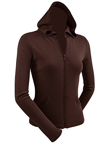- Kavio Junior Long Sleeve Zip Hoodie with Pouch, Brown, Large