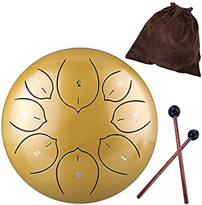 Finger Picks Mallets Music Book Ironkoi Steel Tongue Drum 8 Notes 6 Inches Handpan Drum Percussion Padded with Travel Bag