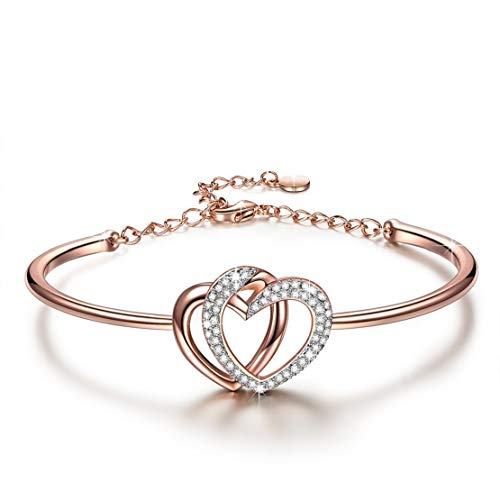 J.NINA Women Bracelet Adjustable Heart Bangle with Swarovski Crystal Rose Gold Plated Fashion Jewelry Anniversary Birthday Gifts Her Ladies Teen Girls Wife Girlfriend Sister Mom Mother