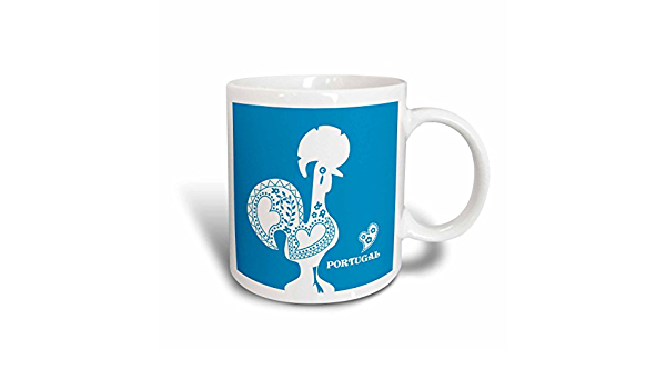 3drose Mug 160662 1 Blue And White Portuguese Rooster With A Heart Ceramic Mug 11 Oz White Amazon Ca Home Kitchen