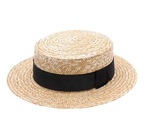 Classic Italy Canotier Boater Hat Gondolier Straw Size 58 cm Natural -