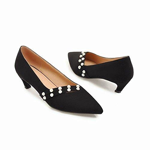 Mee Slip Faux Ferse Court Chic Pearl Damen Schuhe Kitten On Shoes Schwarz SqWSr1wZ