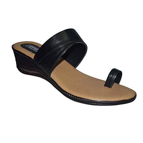 Leatherwood1 Slip on Black and Beige Wedge Heel for Women