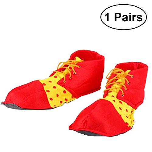 A Pair of Prom Performance Props Clown Shoes Dot Halloween Costume Clown Shoes for Women Men(Red) -