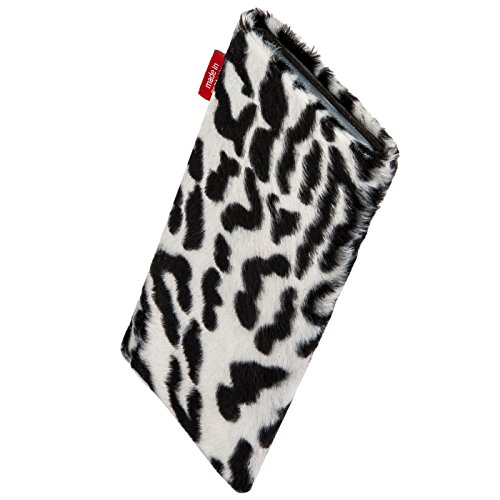 fitBAG Bonga Snow Leopard custom tailored sleeve for ARCHOS 40 Cesium. Fine imitation fur pouch with integrated MicroFibre lining for display cleaning