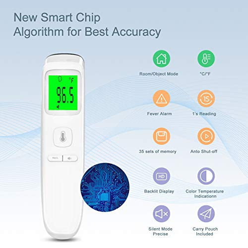 XDX Thermometer for Adults Forehead, [2020 Upgraded Model] No Touch Thermometer with Fever Alarm and Memory Ideal for Babies, Kids, Adults, Indoor Outdoor Medical Use 41WkOaY2S7L