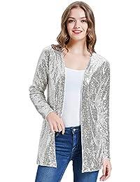 Women's Sequin Jacket Open Front Blazer Casual Long Sleeve Cardigan Coat S-XXL