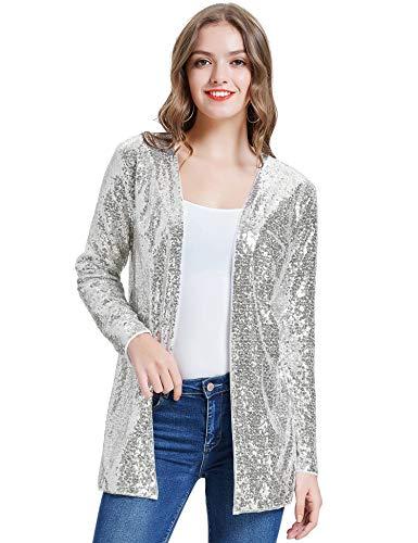KANCY KOLE Women's Long Cardigan Sparkly Sequins Coat Open Front Long Sleeve Blazer Jacket (Silver,L)