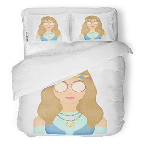 MIGAGA Decor Duvet Cover Set Full/Queen Size Hippie Girl Glasses Beads Hippy Single in Cartoon Symbol 3 Piece Brushed Microfiber Fabric Print Bedding Set Cover