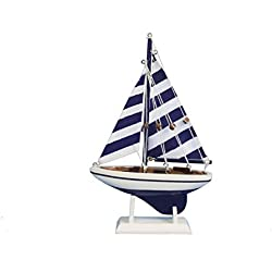 "Hampton Nautical Blue Striped Pacific Sailer, 9"""