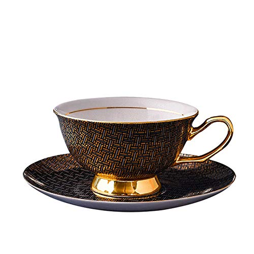 - RBH European Ceramic Coffee Cup Teacup with Plate and Spoon Set, Hand-Painted Gold Bone China, Chinese Porcelain Box Packaging