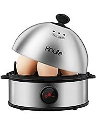 Egg Cooker, HoLife Stainless Steel Egg Boiler Steamer with Auto Shut off, 7 Egg Capacity for Soft, Medium, Hard Boiled Eggs, Omelettes