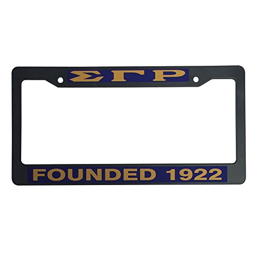 Sigma Gamma Rho Founding Year Black Plastic License Plate Frame Greek Sorority Letter For Front Back of Car (License Plate Greek Frame)