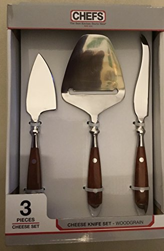 CHEFS Bistro Wood Grain Cheese Knife 3 pc Set - Tang Bakelite Full Handle