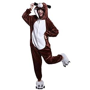 Joygown Unisex Adult Pajamas One Piece Sleepwear Halloween Christmas Party Cosplay Animal Costume Dog M