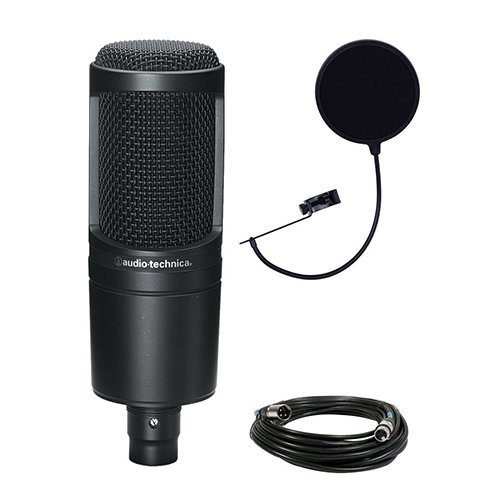 Audio Technica AT2020 Condenser Studio Microphone Bundle with Pop Filter and XLR (Audio Technica Mixer)