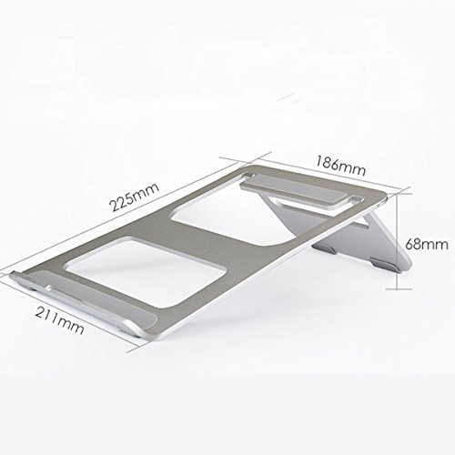 "CCdo Office Aluminum Laptop Stand - Matte Surface Anti-Slide Desk iPad Notebook Stand Raiser Ventilated Ergonomic Design Notebook Cooling Stand Holder for 9"" - 17"" Ultrabook MacBook Air/Pro - Silver by CCdo (Image #4)"