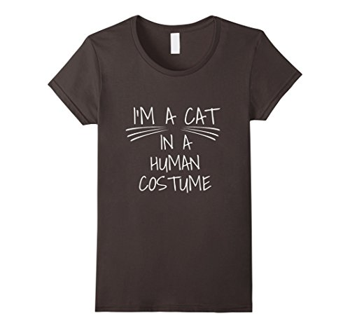 [Women's I'm a Cat in a Human Costume! Funny Kitty T-Shirt Small Asphalt] (Funny Human Cat Costumes)