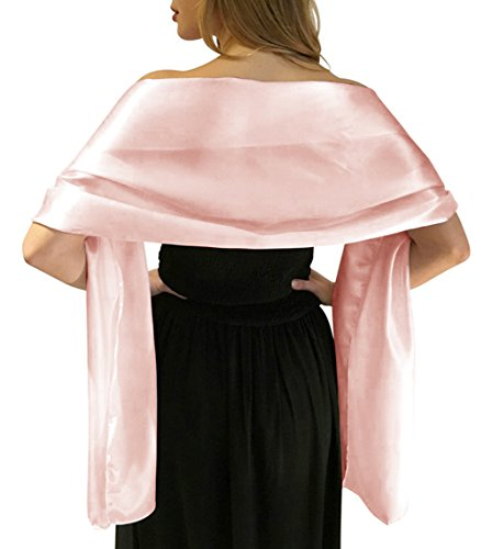 LANSITINA Women's Solid Color Satin Shawl Wraps for Evening Dress/Wedding Party, Pink