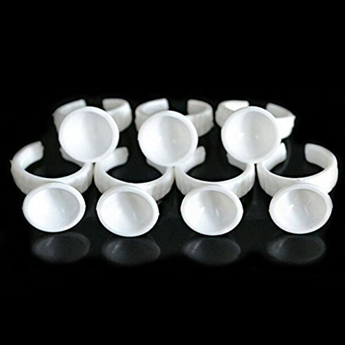 DZT1968 100pcs Tattoo Adhesive Pigment Holders Ring Disposable Eyelash Extension Glue White