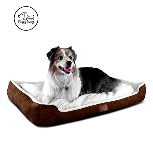 - Floppy Dawg Large Dog Bed with Bolster | Removable Cover and Waterproof Liner |  Nesting Cuddler Design (40L x 28W x 6H) for Dogs 40 To 90 Pounds