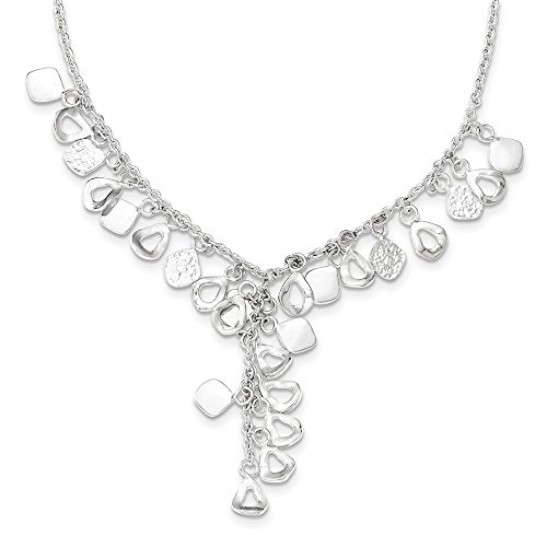 18' Sterling Chain Charm - Roy Rose Jewelry Sterling Silver Polished Chain with Charms Necklace 18'' length