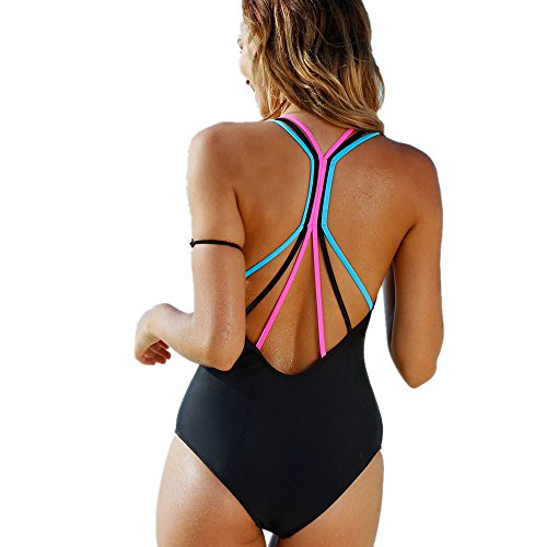 Girls One Piece Solid Cross Bandage Padded Monokini Set Swimwear Beachwear (L, Black) ()