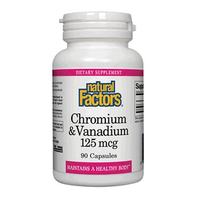 Natural Factors chrome et de vanadium Capsules 100mcg/25mcg, 90-Count