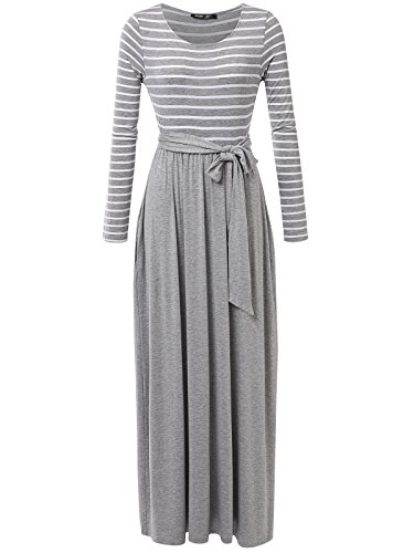Stripe Kaftan (JayJay Women Stripe Print Long Sleeve U-Neck Tie Waist Maxi Casual Dress With Pocket,HeatherGray,XL)