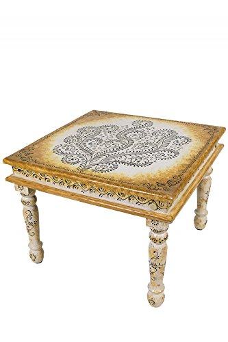 Marokkanischer Wohnzimmertisch Couchtisch Aus Holz Budha 60cm | Vintage  Tisch Aus Holz Mit Bemalung Verziert Für