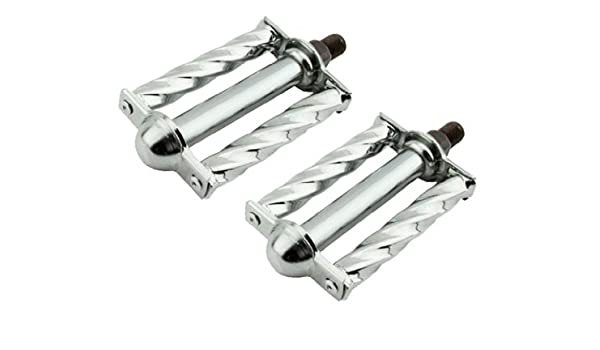 "New Lowrider Double Bicycle Steel Twisted Square Twisted Pedals 1//2/"" Chrome."