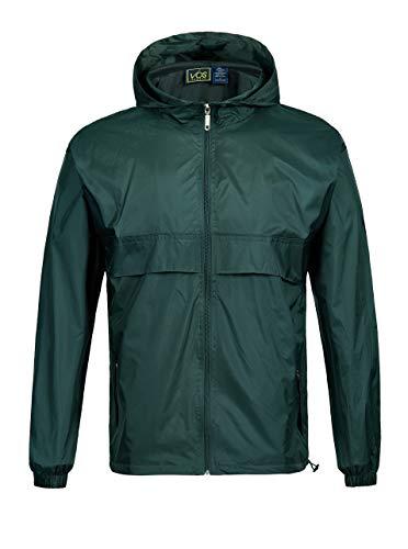 GEEK LIGHTING Rain Jacket for Men, Outdoor Zipper Waterproof Lightweight Raincoat Windbreaker with Hooded (Dark Green, Medium)