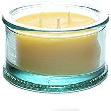 "Bluecorn Beeswax Spanish 3-Wick Pure Beeswax Candle - 100% Recycled Glass (4 ¼"" Dia. x 2 ½"" Tall) – 40 Hour Burn Time"