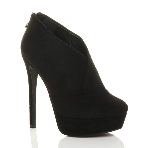 Evening Gold Boots Black Ladies high Womens Size Smart Platform Zip Suede Heel Shoe Booties Ajvani xw0qIvaU4a