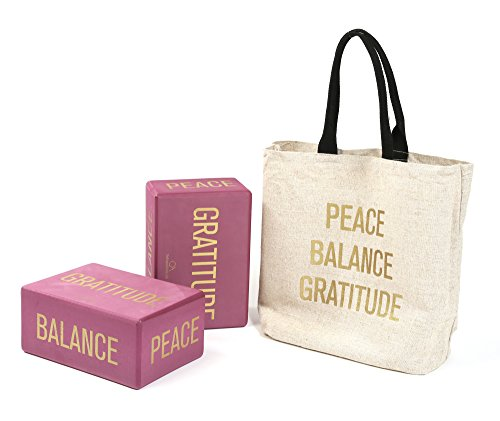Affirmations Yoga Blocks (Set of 2, ROSE), Eco-Friendly High-Density Foam - 4