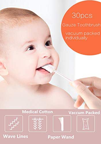 30/60pcs Baby Tongue Cleaner Gauze Toothbrush Stick Oral Hygiene Brush Disposable and Individual Pack (30pcs)
