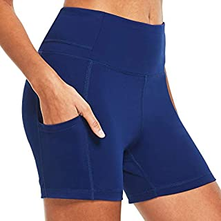 BALEAF Women's 4 Inches Compression Yoga Volleyball Shorts Squate Proof Athletic Workout Shorts Side Pockets Navy Size L