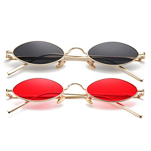 - Vintage Small Oval Sunglasses for Women Men Hippie Cool Metal Frame Sun Glasses (Gold/Black + Gold/Red)